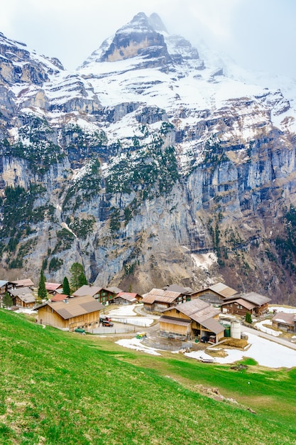 Beautiful view of landscape in the alps Premium Photo