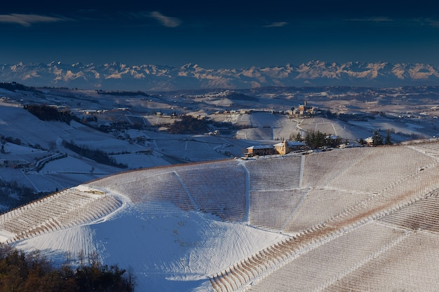 Beautiful view of langhe piedmont covered with snow Free Photo
