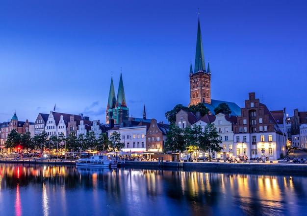 Beautiful view of lubeck city at night Premium Photo