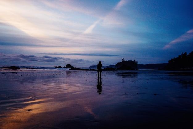 夕暮れの海の近くの濡れた砂の上に立っている人の美しい景色 無料写真