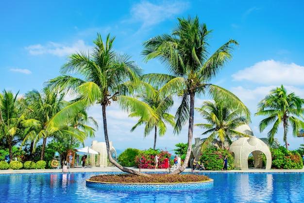 五指州のプールとヤシの木の美しい景色。ハイタン湾、三亜市、海南島。 Premium写真