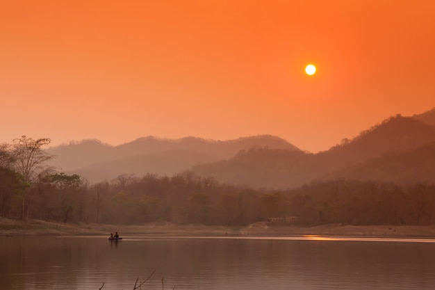 Beautiful view reservoir in the evening and sunset Premium Photo