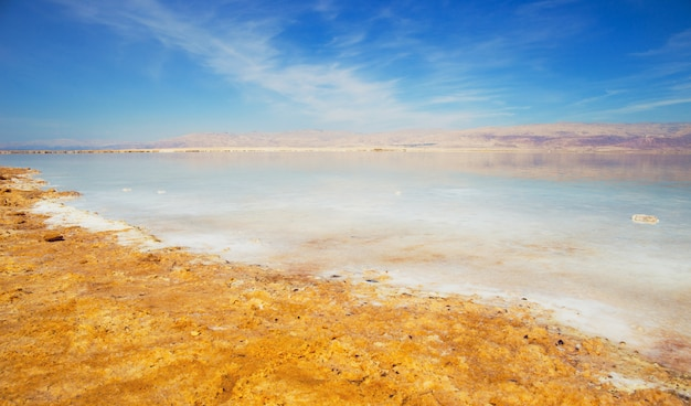 Beautiful view of salty dead sea shore with clear water. ein bokek, israel. Premium Photo