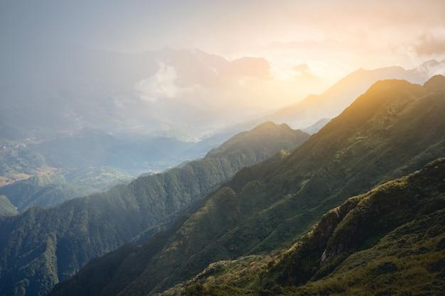 Beautiful view  sapa valley  vietnam panorama in morning sunrise with beauty cloud Premium Photo
