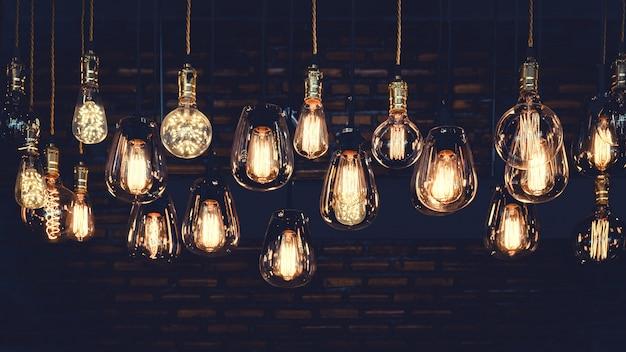 Beautiful vintage luxury light bulbs Premium Photo