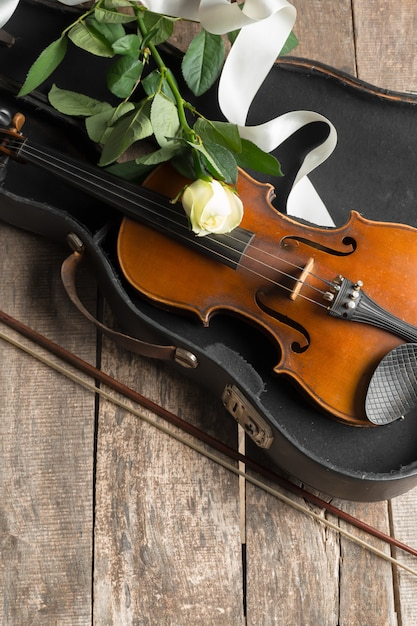 Beautiful violin with rose and ribbon Premium Photo