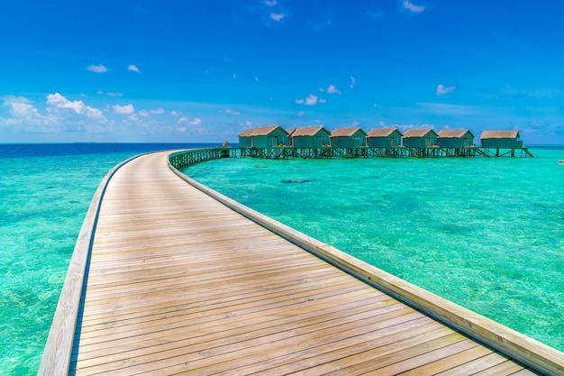 Beautiful water villas in tropical maldives island  . Premium Photo