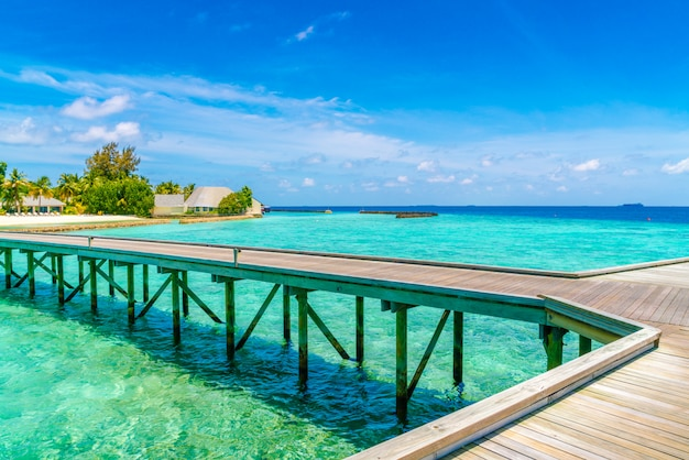 Beautiful water villas in tropical maldives island  . Premium Photo