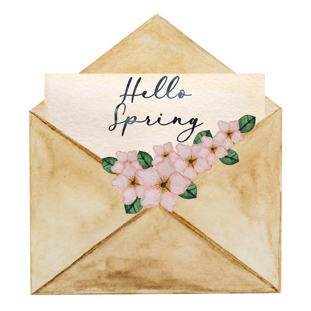 밝은 꽃의 아름다운 수채화 그리기 프리미엄 사진