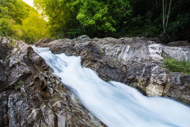 Beautiful waterfall in autumn forest of the stream in the natural park Premium Photo