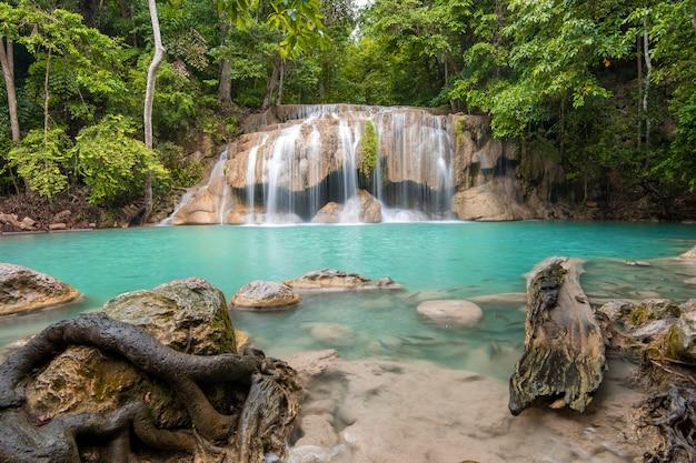 Beautiful waterfall in erawan waterfall national park in kanchanaburi, thailand Premium Photo