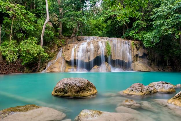 Beautiful waterfall in a thai national park Premium Photo