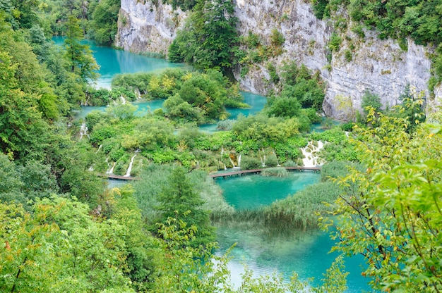 Beautiful waterfalls in plitvice lakes, croatia Premium Photo