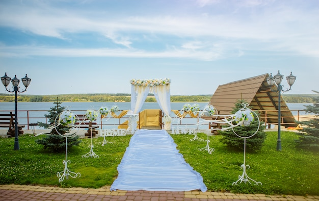 Beautiful wedding arch and installed by the sea Premium Photo