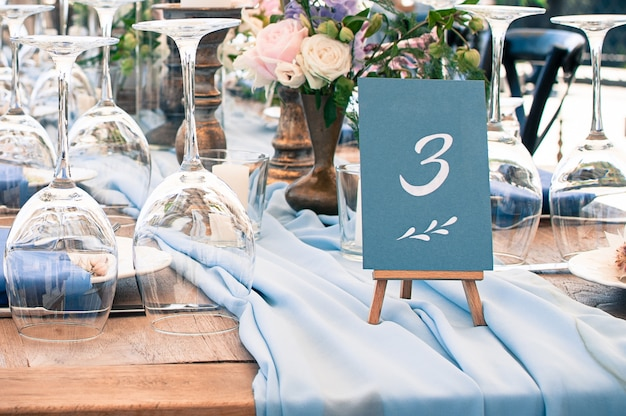 Beautiful wedding or event decoration table setup, outdoor Premium Photo