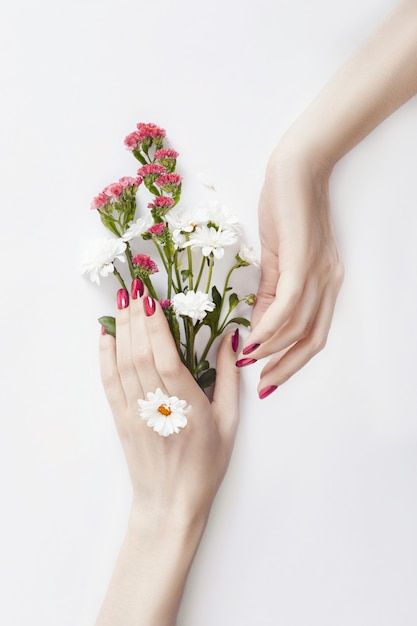 Beautiful well-groomed hands wild flowers on table Premium Photo