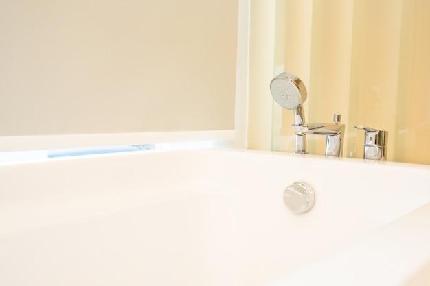 Beautiful white bathtub decoration interior of bathroom Free Photo