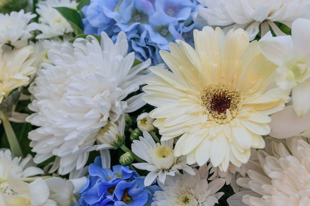 Beautiful White And Blue Flower In A Bouquet Naturally Beautiful