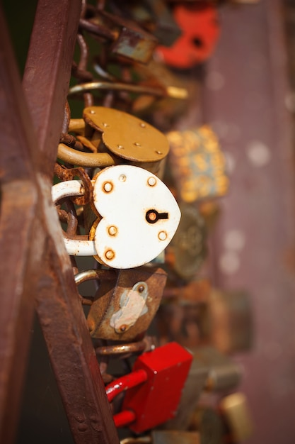 Beautiful white heart-shaped padlock locked on iron chain, romance concept Premium Photo