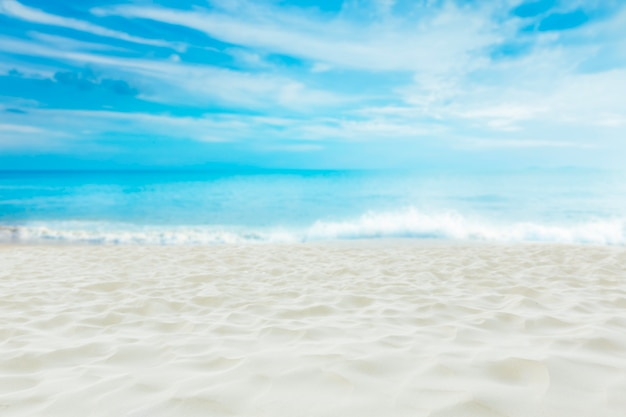 Beautiful white sand beach with blue sky , summer dream destination. Premium Photo