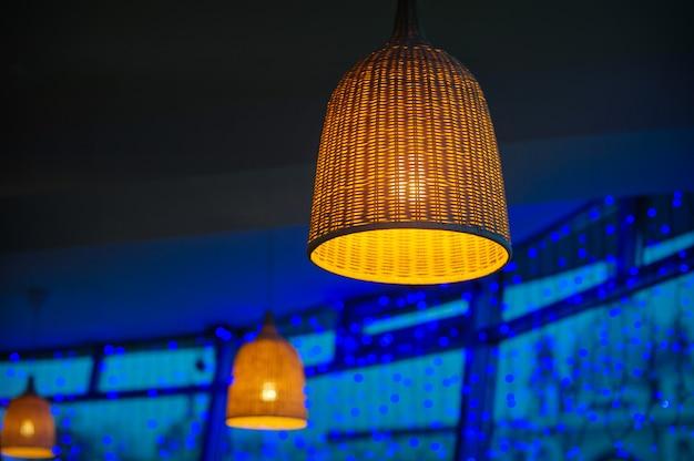 Beautiful wicker lamp Premium Photo