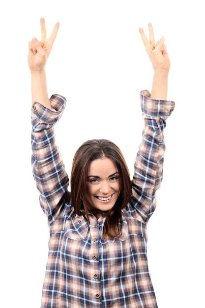 勝者であることを祝う美しい勝利の女性幸せな恍惚 無料写真