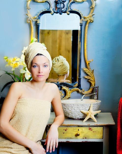 Beautiful woman bathroom portrait with towel Premium Photo