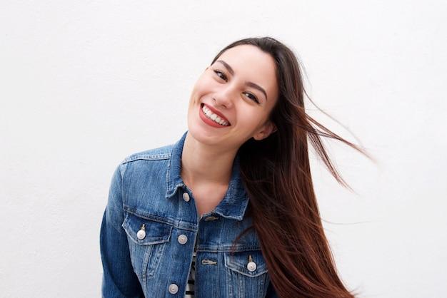 Beautiful woman in denim jacket with long hair blowing Premium Photo