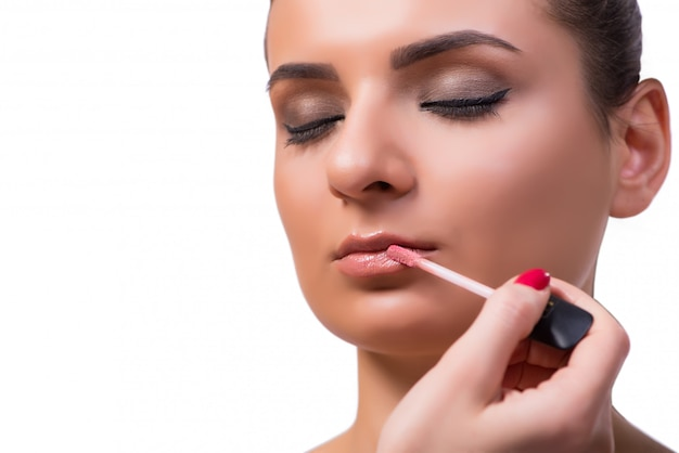 Beautiful woman during make-up cosmetics session Premium Photo