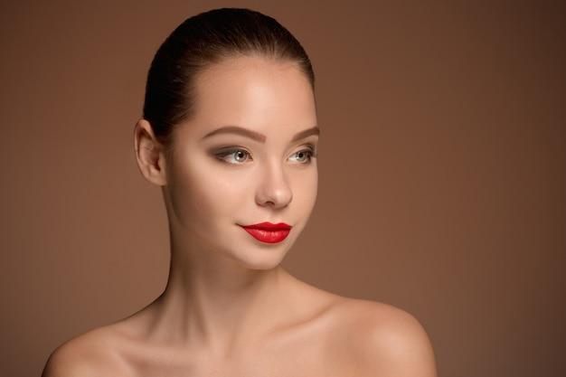 Beautiful woman face portrait close up Free Photo