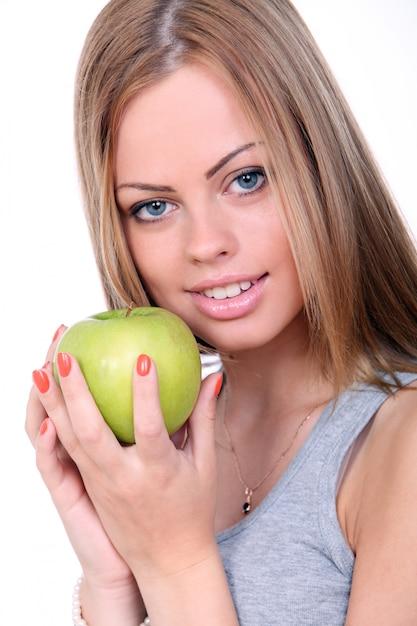 녹색 사과 들고 아름 다운 여자 무료 사진