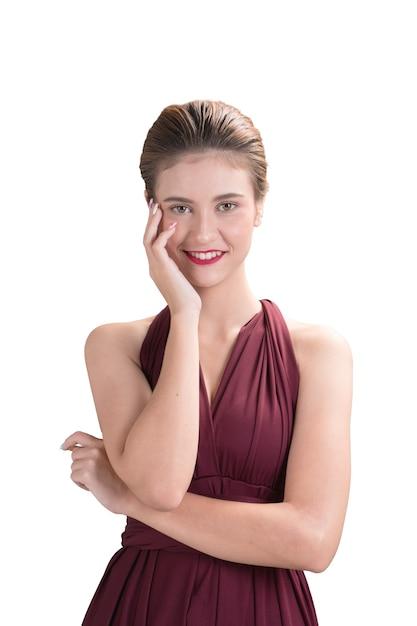 Красивая женщина модель создает руку представить ее лицо на белом фоне, мода портрет Premium Фотографии