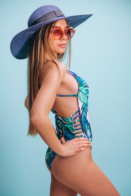 Beautiful woman model in swimminmg suit isolated Free Photo