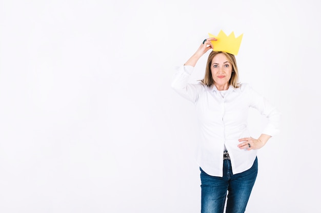 Beautiful woman in paper crown Free Photo