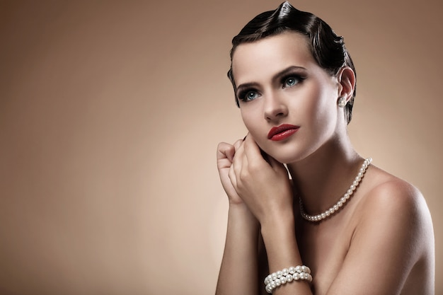 Beautiful woman in vintage image Free Photo