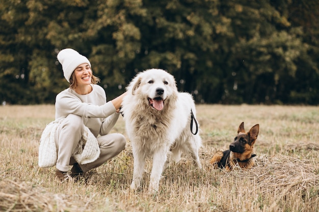 Beautiful woman walking out her dogs in a field Free Photo