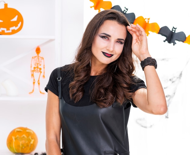 Beautiful woman with halloween make-up Free Photo