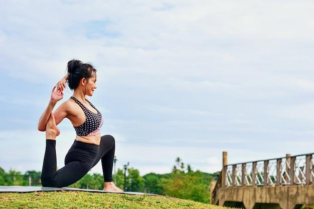 美しい女性はヨガの練習で健康を維持します。 Premium写真