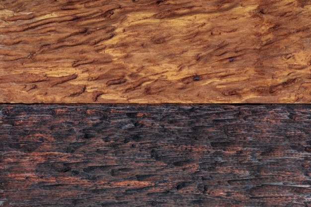 Beautiful wood background combined in light and dark tones (ocher, brown, tan, golden and black). with a rustic appearance, veins and knots can be seen. Premium Photo