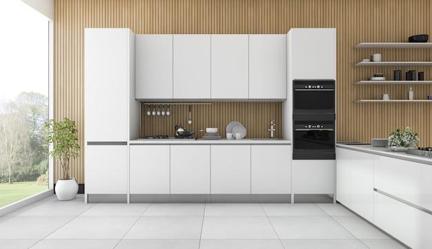 Beautiful wood kitchen and dining room Premium Photo