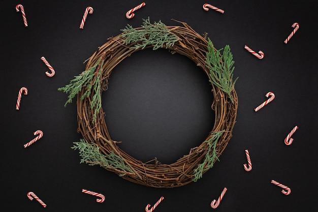 Beautiful wooden christmas wreath Free Photo
