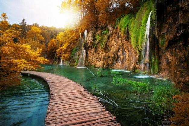 Красивый деревянный путь в озере plitvice, хорватии. Premium Фотографии