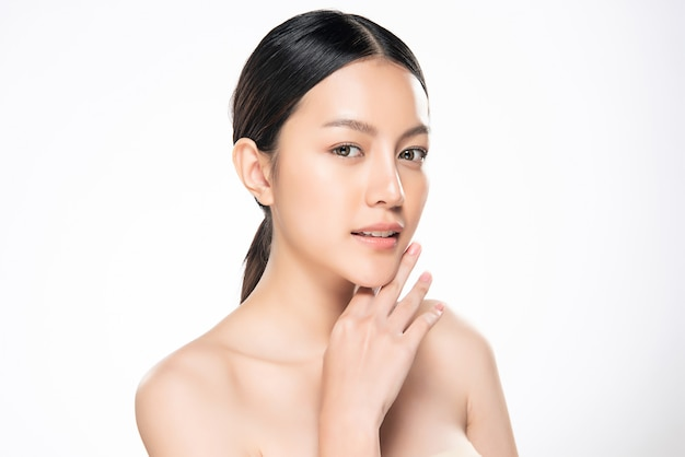 Beautiful young asian woman with clean fresh skin, Premium Photo