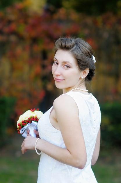 Beautiful young bride portrait outdoors Premium Photo