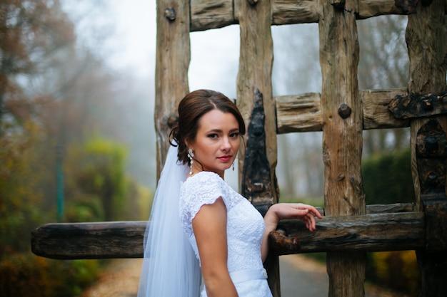 美しい若い花嫁の結婚式のメイク髪型屋外結婚の日。幸せな花嫁待っている新郎。結婚結婚式の日の瞬間。花嫁の肖像画ソフトフォーカス、シリーズ Premium写真