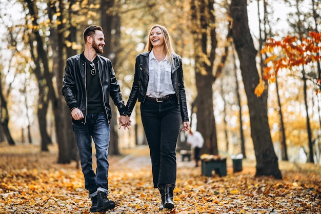 晴れた日に秋の公園で歩く美しい若いカップル Premium写真