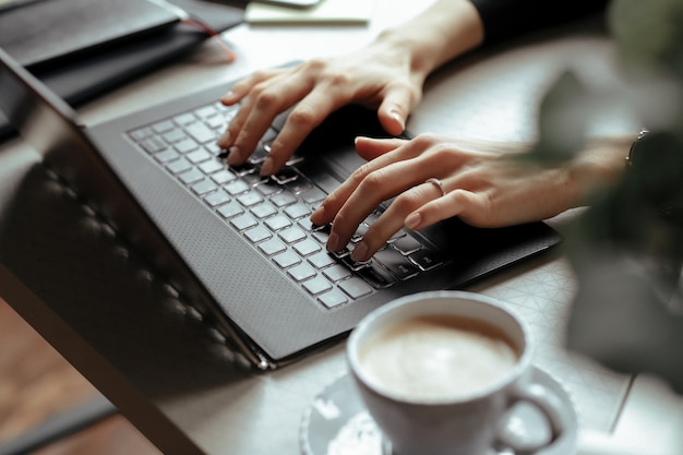 Beautiful young woman in the home office. working from home. teleworking concept Free Photo