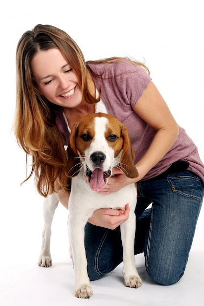 Beautiful young woman with dog Free Photo