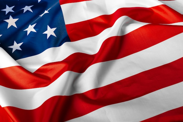 Beautifully waving star and striped american flag Premium Photo