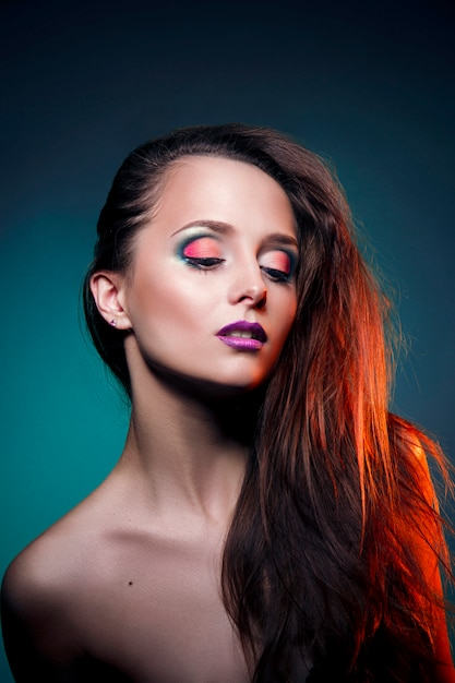 Beauty art makeup on the face of a woman Premium Photo